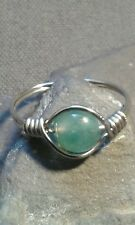 Handmade Natural Aquatic Agate Gemstone Silver Wire Wrapped Ring ANY SIZE