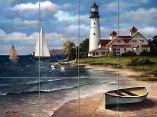 Lighthouse Ocean Mural Ceramic Backsplash Tile #643