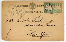 BAVARIA--Cover sent to New York franked with Scott #39a and Higgins & Gage #8