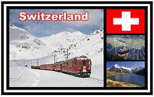 SWITZERLAND & FLAG - SOUVENIR NOVELTY FRIDGE MAGNET - NEW - GIFT