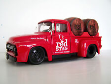"1956 Red Ford F100 Jim Beam ""Red Stag"" Custom Graphics Diecast Pickup +2 Barrels"