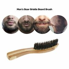 Natural Boar Bristle Beard Brush Mini Mens Mustache Hair Shaving Facial Cleaning