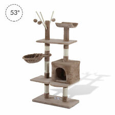 "PawHut 53"" Multi-Level Cat Tree Scratcher Kitten Activity Center Kitty Condo BN"