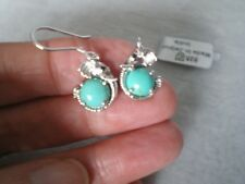Cochise Turquoise hook earrings, 3.71 carats, 3.95 grams of 925 Sterling Silver