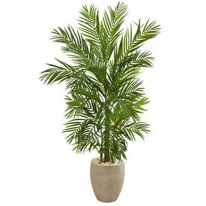 Areca Palm Artificial Tree In Sand Colored Planter Nearly Natural 5' Home Decor