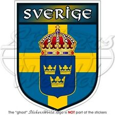 "SWEDEN Sverige Swedish Shield 4""(100mm) Vinyl Bumper Sticker, Decal"