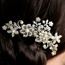 151b Boxed Bridal SP Floral Flower Pearl & Clear Crystal Comb Hair Accessory
