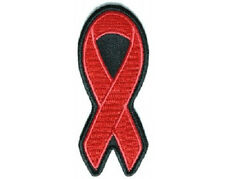 RED RIBBON AIDS AWARENESS EMBROIDERED PATCH