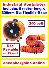INDUSTRIAL PORTABLE VENTILATOR BLOWER EXTRACTOR DYNO SPRAY PAINT FAN 300mm HOSE