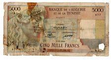 Algeria Algerie TUNISIE TUNISIA Billet 5000  DINARS 7/10/ 1949 P109 APOLLO