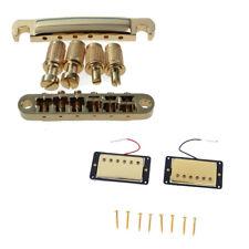 Gold Bridge Tailpiece + Sealed Humbucker Pickup Set for Les Paul LP Guitar