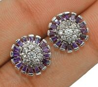 Amethyst & White Topaz 925 Solid Sterling Silver Earrings Jewelry, Z-31