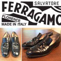 FERRAGAMO Mens US Size 7 Black Leather Brogue Tassel Loafers Slip-On Dress Shoes