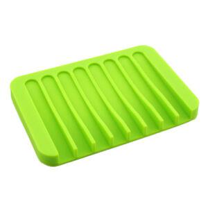 Comb Drain Soap Dishes Holder Silicone Bathroom Leak-proof Drain Rack,Green