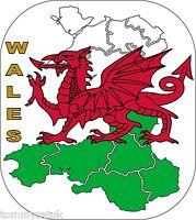 Wales Cymru Welsh Dragon Flag Map Car Caravan Exterior Vinyl Decals Stickers x 2