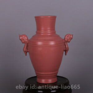 """6.7"""" Collect China Ru Kiln Porcelain Pink Glaze Two Dragon Ear Zun Vase"""