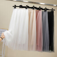 Women High Waist Mesh Tutu Maxi Skirts Sheer Net Tulle Pleated A Line Long Dress