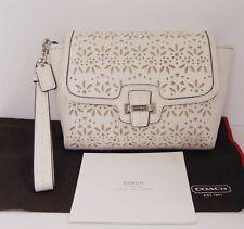 New Coach White Laser Cut Eyelet Leather Medium Clutch Wristlet Bag