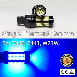 Rear Turn Signal Lights T20 7440 W21W 992 108 SMD Blue LED Bulb M1 G MA