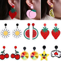 Fashion Women Vegetable Ear Stud Fruit Acrylic Earrings Pendant Dangle Jewelry