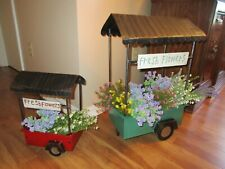 Set of 2 Vintage Themed Metal Flower Cart Wagon Planter Stand