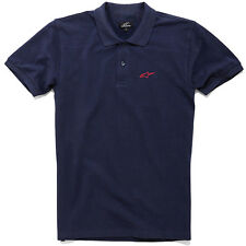 Genuine Alpinestars Extreme Motorcycle Motocross Navy Blue Men Polo Tee T-Shirt
