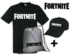 T-shirt FORTNITE maglietta cotone +Sacca Silver +Cappellino KIT for the gamers