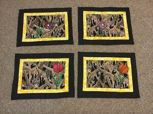"Set Of Four Giraffe Cloth Placemats 17-1/2""X 14"" Unique"