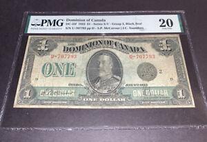 PMG Graded Dominion of Canada 1923 $1 Banknote Series s-v Black Seal Grp 2vf20
