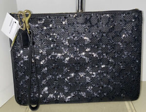 Coach Poppy Signature C Sequin Large Cosmetic Pouch Wristlet BLACK 50326B NWT!