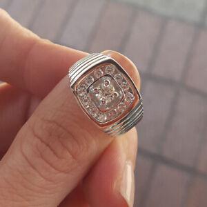 Round 0.80 Carat Real Diamond 950 Platinum Engagement Men's Bands Size R S T U V
