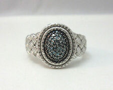 STERLING SILVER BLUE DIAMOND BRAIDED LOOK RING SIZE 9 ***