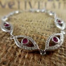 Silver CZ Crystal Coral Protective Eye Bracelet