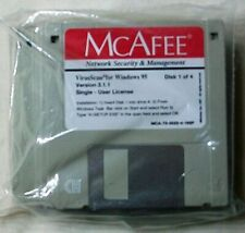 "McAfee VirusScan Windows 95 3.1x DOS 3.5"" Floppy Disk Version 3.1.1 Factory Seal"