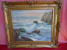 Sublime, Vieux Tableau __Marines__ Déferlement des Vagues à Rocher