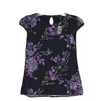 White House Black Market NWT Sequin Embellished Flower Tee Sz XXS Black Blouse