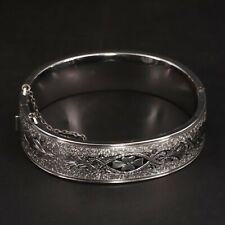 "Sterling Silver Signed Ornate Filigree Flower 6.75"" Hinge Bangle Bracelet - 26g"