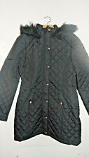 WOMENS LADIES PARKA COAT-HOODED/FUR TRIM QUILTED & PADDED JACKET Size UK 12/M