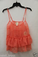 Belle de Jour Women's Deep Coral Textured Tank Top Medium
