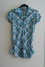 H&M HM WOMENS BLUE & PINK BUTTON UP SHORT SLEEVE TOP W BELT SIZE 4 SMALL