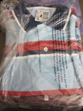 NEW LANDS END MENS S/S MESH POLO SHIRT- TRADITIONAL FIT- BLUE/RED STRIPE - LARGE