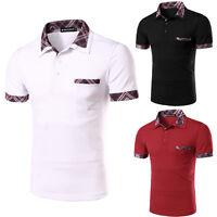 Men's Stylish Tops Slim Fit Casual Fashion T-shirts Polo Shirt Short Sleeve Tee