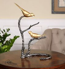 TIMELESS TWISTED IRON METAL METALLIC GOLD BIRDS ON A BRANCH SCULPTURE STATUE