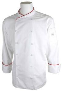 Mercer Renaissance Cutlery Men's Chef Jacket (Scoop Neck) | White w/ Red Pipi...