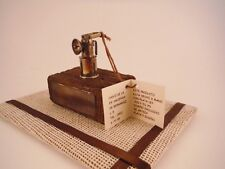 Sterling Silver Mini Miner's Lamp on Mine Timber Engraved Sterling Silver Plaque