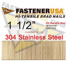 "1 1/2"" 18 Gauge Straight Brad Finish Nails Stainless Steel 18 ga (1,000 ct)"
