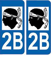 Département 2B sticker 2 autocollants style immatriculation AUTO PLAQUE 2B Corse