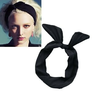Multifunktion Schleife Hasenohren Haarband Draht biegbar Stirnband Schwarz