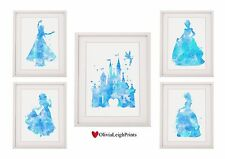 Set Of Five Disney Princess Prints Wall Art Watercolour Belle Castle Cinderella