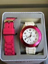 NIB RELIC by FOSSIL White/Pink Silicon Strap with Pink Aluminum Topring Watch